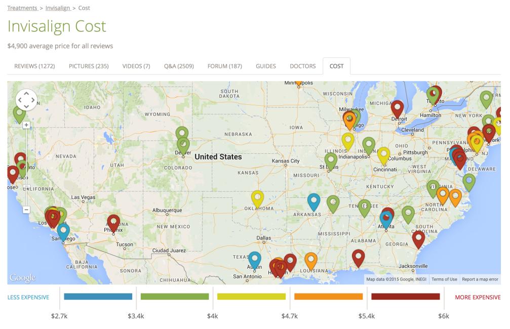 검색 결과 중 두 번째로 뜬 realself.com. 투명 교정 가격이 지역별로 표시되어 있다.