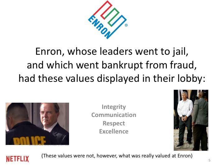 미국에서 가장 비도덕적인 회사중 하나로 비난받는 엔론(Enron)의 네 가지 가치: 도덕성, 커뮤니케이션, 존중, 뛰어난 성과(능력). 이것은 회사 로비의 대리석에 새겨져 있다. 하지만 그 조직이 진짜로 가치있게 여기는 것과는 관련이 없다.