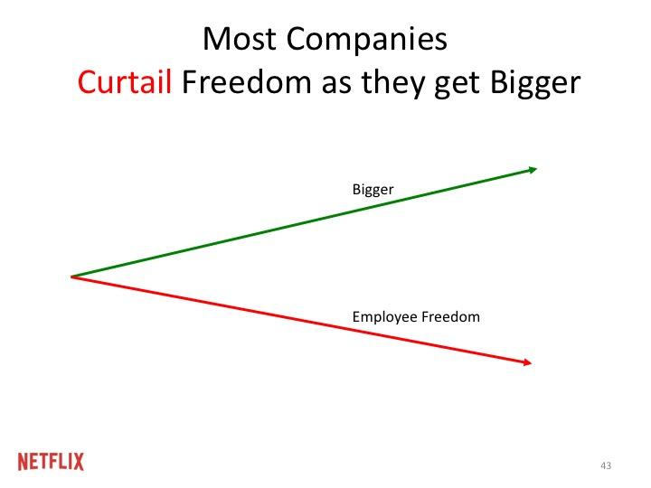 대부분의 회사들은 규모가 커질수록 자유를 제약한다