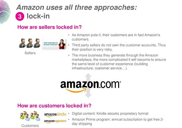"""두 번째 비결은 """"고른(seamless) 통합"""". A. 아마존이 어떻게 판매자들을 통합하는가? 1) 판매자 점수 모니터, 2) 저품질의 제품을 파는 판매자 차단. B. 어떻게 사용자 경험이 통합되어있는가? 1) 소비자 입장에서는, 개별 판매자들은 거의 보이지 않는다. 2) 대부분의 제품에 대해 아마존 프라임 멤버들은 이득을 얻을 수 있다 (무료 배송)."""