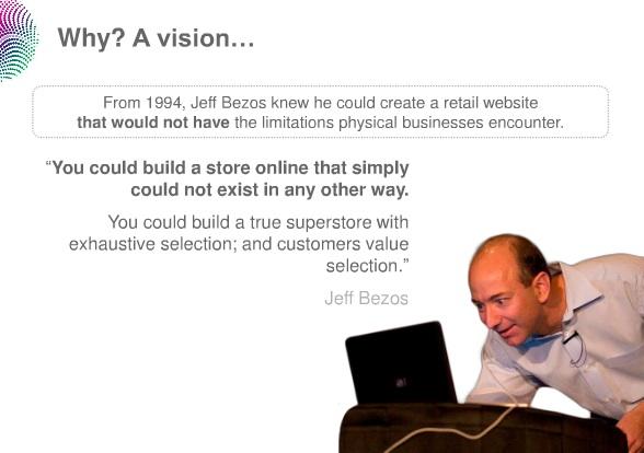 왜 가능했을까? 비전 때문이다. 1994년, 제프 베조스는 인터넷을 이용하여 전에는 가능하지 않았던 새로운 사업을 만들어낼 수 있음을 알았다.