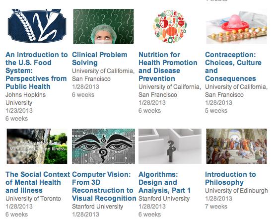 Coursera에서 새로 개설한 과목들. 흥미로운 주제들이 많이 눈에 띈다.