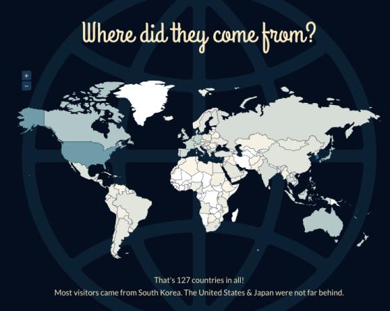 총 127개국에서 방문했고, 한국, 미국, 일본 순으로 많았다.
