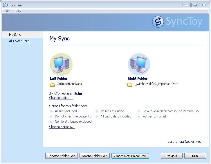 마이크로소프트의 파일 동기화 소프트웨어, SyncToy