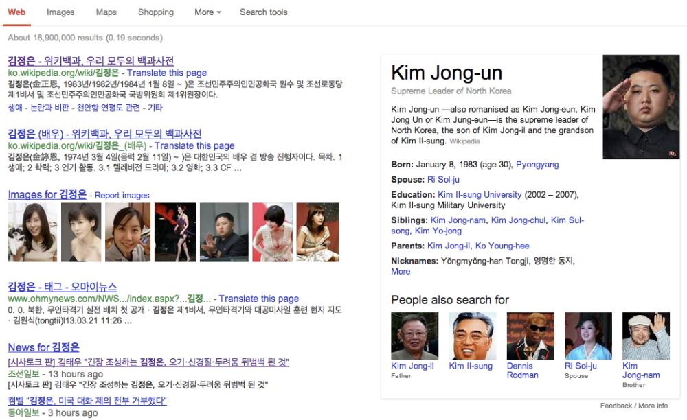 구글에서 '김정은'으로 검색한 결과