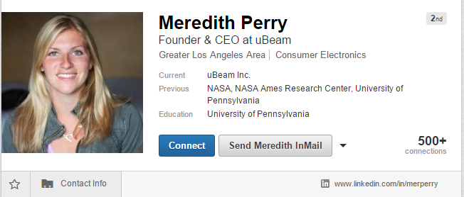 UBeam 창업자 Meridith Perry의 링크드인(LinkedIn) 프로필