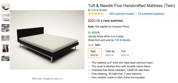 Tuft & Needle 아마존 상품 페이지