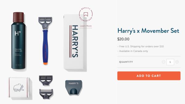 Harry's 면도기 세트. 20달러.