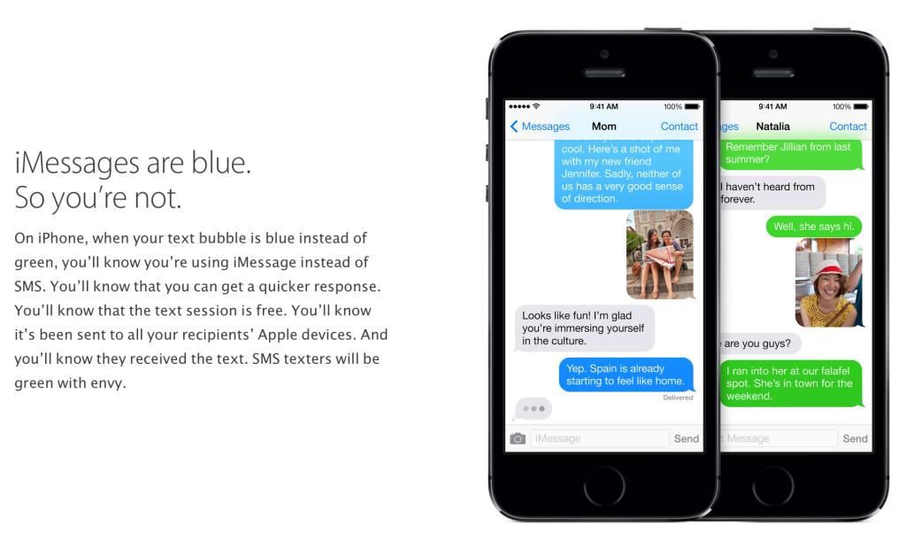 애플의 iMessage 설명 페이지